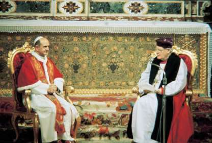 Archbishop of Canterbury Michael Ramsey and Pope Paul VI meeting in 1966.