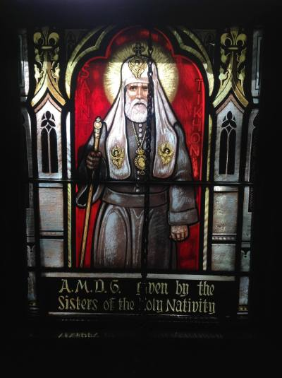 Window of Saint Tikhon in the Chapel at Nashotah House Seminary. (Photo by author, please ask before reproducing.)
